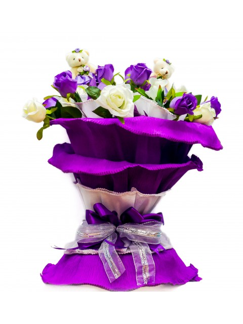 Beautiful Purple And White Rose Arrangement With Teddy's
